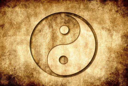 yin yang symbol over old grunge background