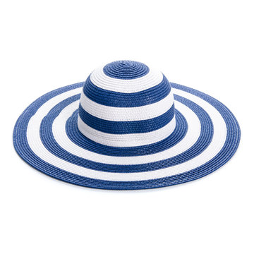 Blue beach hat travel on white background isolation