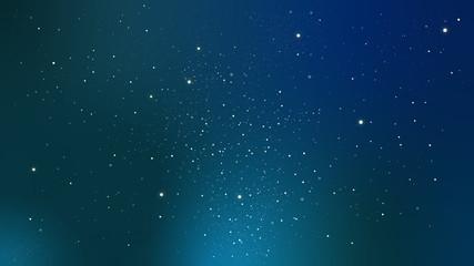 星がキラキラ光る夜空、宇宙のイラスト ブルー