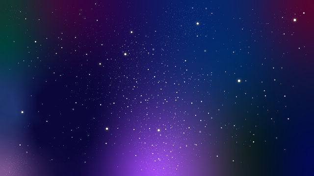 星がキラキラ光る夜空、宇宙のイラスト パープル