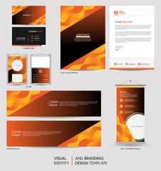 Modern stationery mock up set and visual brand identity with abstract colorful dynamic background shape. Vector illustration mock up for branding, cover, card, product, event, banner, website.