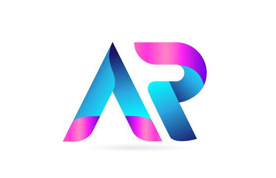 pink blue alphabet letter AR A R combination logo icon design