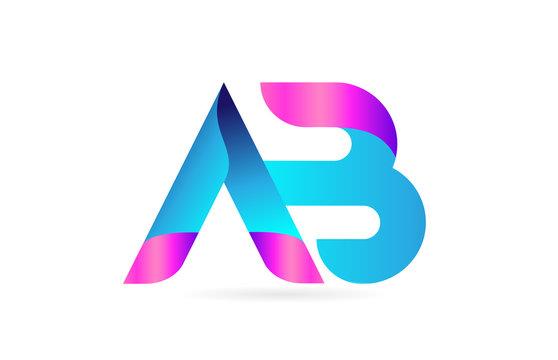 pink blue alphabet letter AB A B combination logo icon design