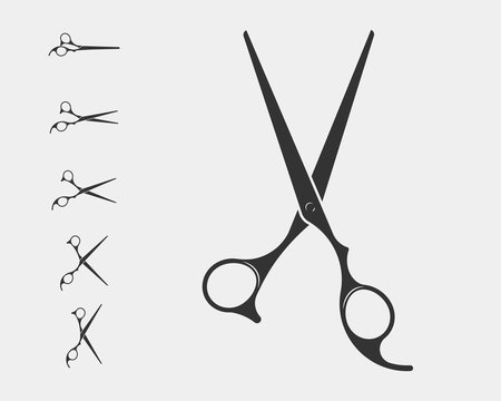 Set hair cut scissor icon. Scissors vector design element or logo template. Black and white silhouette isolated.