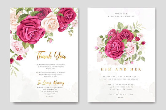 beautiful wedding invitation card with elegant floral and leaves template