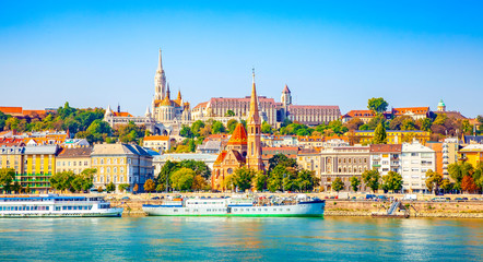 Photo sur Toile Budapest Budapest skyline - Buda castle and Danube river
