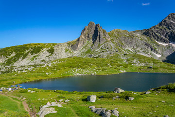 Fototapete - The Twin lake, one of the seven rila lakes in Bulgaria