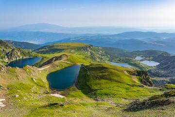 Fototapete - Sunrise aerial view of seven rila lakes in Bulgaria