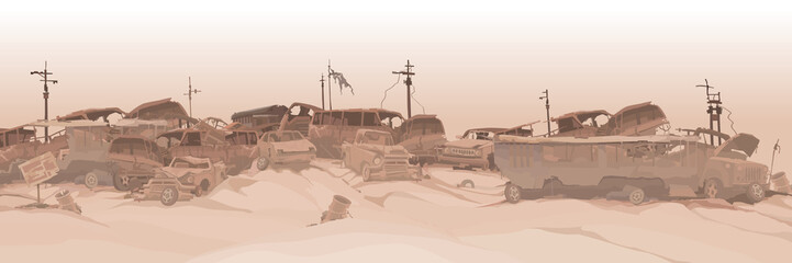monochrome panoramic background of a dump of various car remains