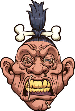 Cartoon shrunken head with bone clipart. Vector illustration with simple gradients. All in a single layer.