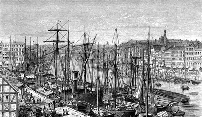 Panoramic view of Stettin (now Szczecin, Poland) harbor on the Baltic coast with sailships moored and cityscape, 19th century