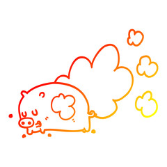 warm gradient line drawing cartoon smelly pig