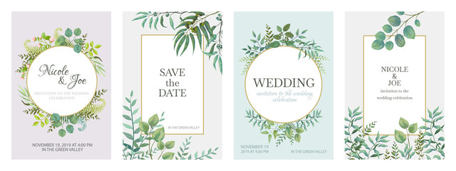 Wedding greenery posters. Floral green invitation cards with rustic garden branches and leaves. Vector trendy eucalyptus borders in golden frame on white background