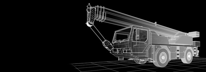 crane truck 3d illustration  sketch