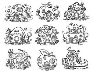 Cute cartoon elven, fairy or gnome houses in the form of pumpkin, tree, teapot, boot, apple, mushroom, stump