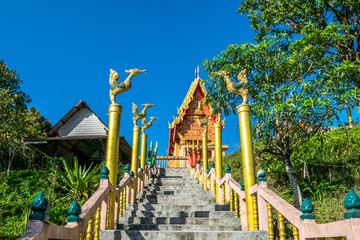 View of Wat Pilok Temple in Thong Pha Phum National Park, Kanchanaburi province, Thailand