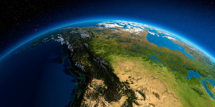 Detailed Earth. Western and Northern Canada - British Columbia, Alberta and other provinces