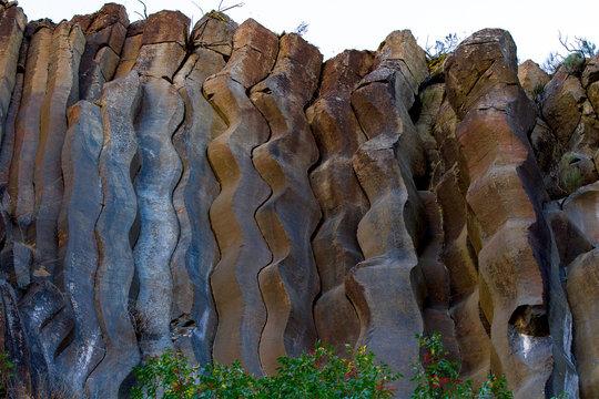 Basalt columns curvy detail