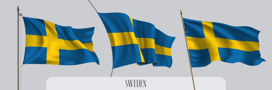 Set of Sweden waving flag on isolated background vector illustration