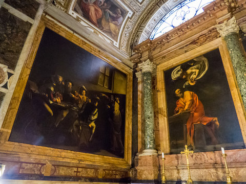 The Contarelli Chapel (or Cappella Contarelli) housing paintings on St. Matthew the Evangelist by Caravaggio in the San Luigi dei Francesi church, Rome, Italy