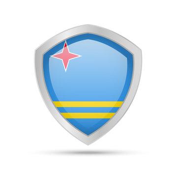 Shield with Aruba flag on white background.