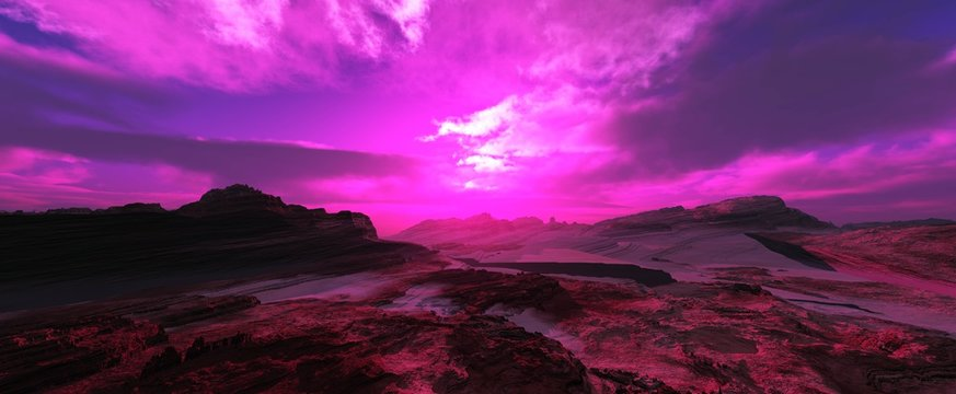 alien landscape, a panorama of a surface of another planet at sunrise,