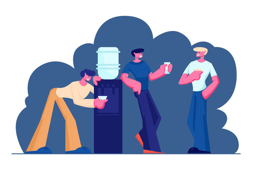 Businessmen, Friends or Colleagues Having Coffee Break in Meeting Room. Smiling Relaxing Men Stand at Cooler Drinking Beverages after Work, Friendly Conversation. Cartoon Flat Vector Illustration
