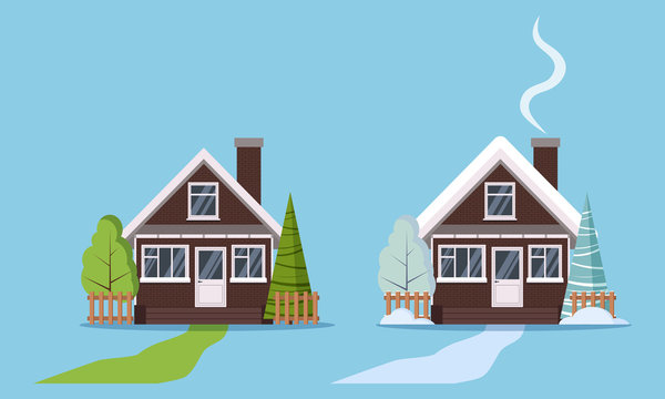 Set of isolated country farm brick winter and summer houses with plastic windows, with fences, chimney, attic, road