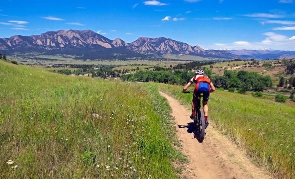 Mountain biker on a trail near Boulder, Colorado