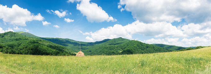 wide panorama of a rural field in mountains. wonderful sunny weather with fluffy clouds on the blue sky. mountain range in the distance. haystack in the scenery.