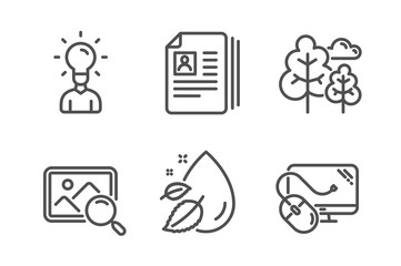 Education, Cv documents and Search photo icons simple set. Water drop, Tree and Computer mouse signs. Human idea, Portfolio files. Business set. Line education icon. Editable stroke. Vector