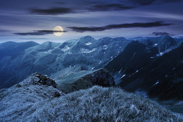 beautiful landscape of fagaras mountains at night in full moon light. rocks on steep grassy slopes. snow in the deep valley. wonderful summer weather with clouds on the sky