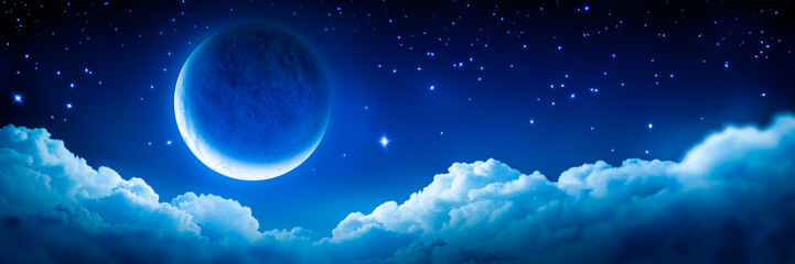 Banner Of Bright Glowing Crescent Moon Above Fluffy Clouds With Starry Sky Background Wall mural
