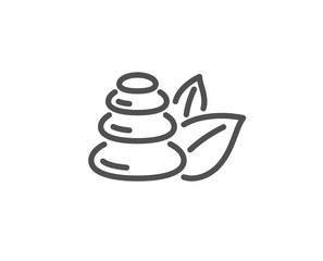 Spa stones line icon. Bath resort sign. Hotel service symbol. Quality design element. Linear style spa stones icon. Editable stroke. Vector