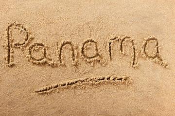 Panama handwritten beach sand message