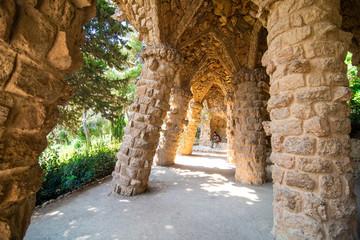 BARCELONA, SPAIN - April, 2019: Stone walkway in the Park Guell in Barcelona, Spain. Fototapete
