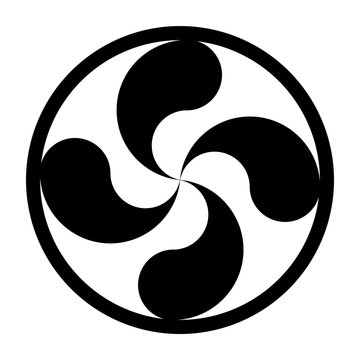 Lauburu or Basque cross symbol with a white background