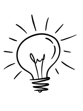Illustration hand drawn light bulb sketch style, isolated on white background. Business, idea, brainstorm concept.