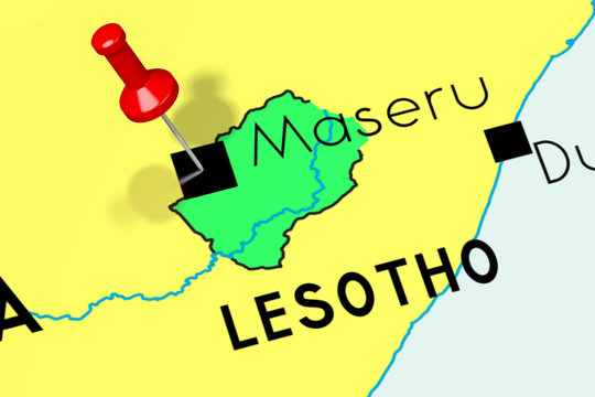 Lesotho, Maseru - capital city, pinned on political map