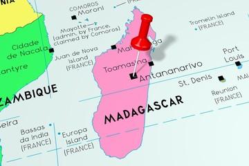 Madagascar, Antananarivo - capital city, pinned on political map
