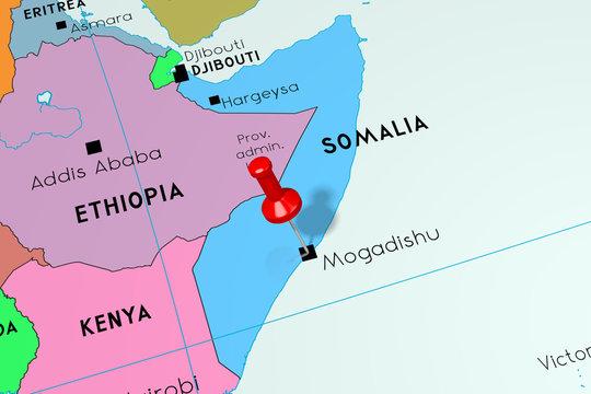 Somalia, Mogadishu - capital city, pinned on political map