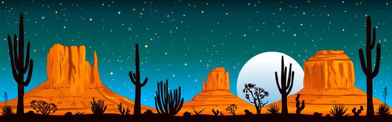 Starry night over the Arizona desert. Night landscape of the Arizona desert. Landscape rocky desert. Mountains and cactus. Monument Valley in Arizona and Utah