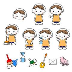 ハウスクリーニングスタッフ女性・清掃業者・清掃員・年末掃除の仕事・家政婦・お掃除道具一式イラスト