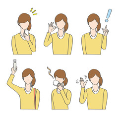 Woman charactor set with different gestures