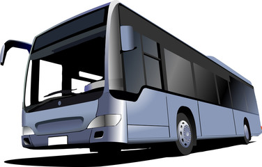 Blue Tourist bus. Coach. Vector illustration