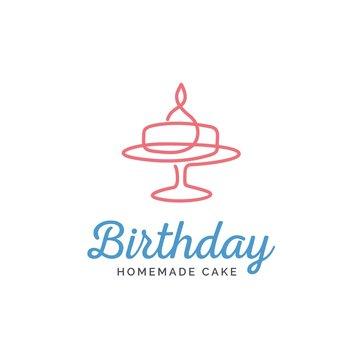 Birthday and wedding cake line art logo design