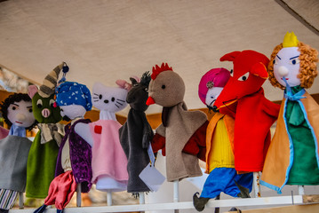 Various Felt Hand Puppets on sale at a Easter market in Hungary.