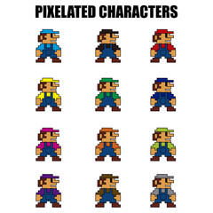 Wall Murals Pixel Illustration of several pixelated characters wearing different color clothes.