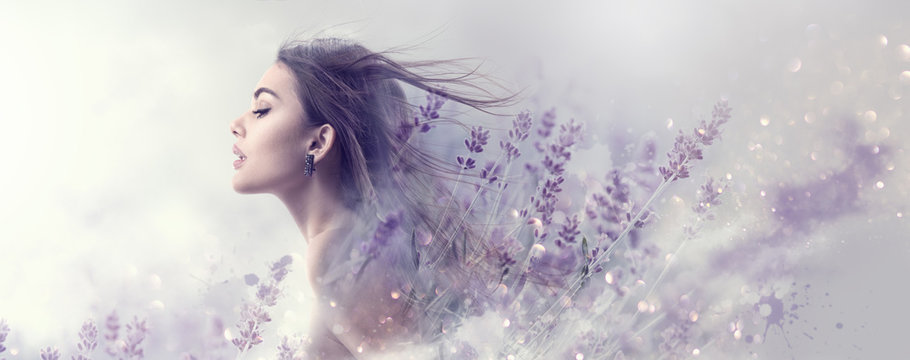 Beauty model girl with lavender flowers . Beautiful young brunette woman with flying long hair profile portrait. Fantasy watercolor