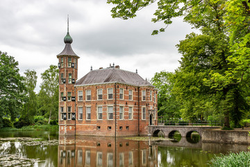 The beautiful Castle Bouvigne near Breda photographed from the street side, Netherlands
